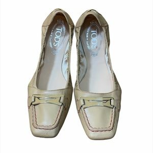 Tod's Foldable Beige Leather Slippers Ballerinas